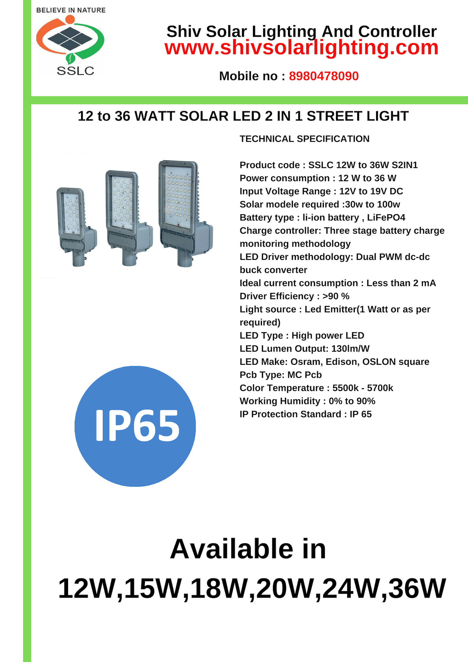 solar 2 in 1 LED street light
