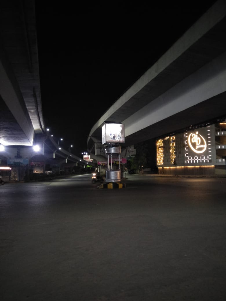 Installation  of solar lighting in  traffic booth media